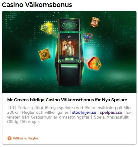 Hämta 20 freespins vid första insättning hos Mr Green Casino!